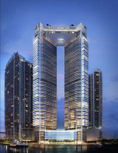 Miami's Skyline in 2018 Will Feature Zaha Hadid and Herzog & de Meuron–designed buildings Photos Tower Building, High Rise Building, Building Design, Zaha Hadid, Unusual Buildings, Amazing Buildings, Modern Buildings, Unusual Houses, Office Buildings