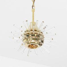 Bakalowits & Sohne chandelier Austria, c. 1960 glass, brass 12 dia x 28 h inches