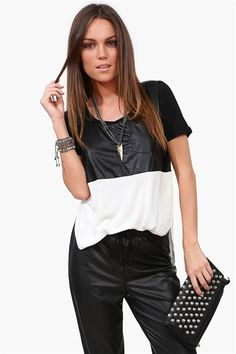 Leather It Tee in Ivory