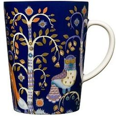 Iittala Taika Oz Mug, Blue, Crafted by skilled artisans of vitro porcelain for a glossy finish, this stunning mug will draw attention with its artful enchanted forest motif rendered in a deep color palette. Design Bleu, New Bedroom Design, Kartell, Owl Patterns, China Patterns, Home Decor Online, Decoration, Finland, Pottery Barn