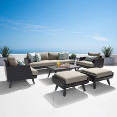 Sol 72 Outdoor™ Merlyn 11 Piece Sectional Seating Group with Cushions | Wayfair Ottoman Sofa, Ottoman Table, Pool Floats For Adults, Outdoor Furniture Sets, Outdoor Decor, Love Seat, Upholstery, Patio