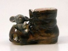 Made in Japan Porcelain Mouse Hobo Clown Shoe Match Toothpick Holder