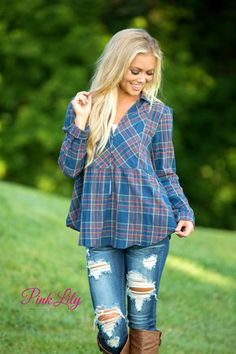 Country Charmer Plaid Blouse