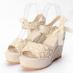 #NewChic - #NewChic Butterfly Knot Canday Color Lace Wedge Heel Sandals - AdoreWe.com