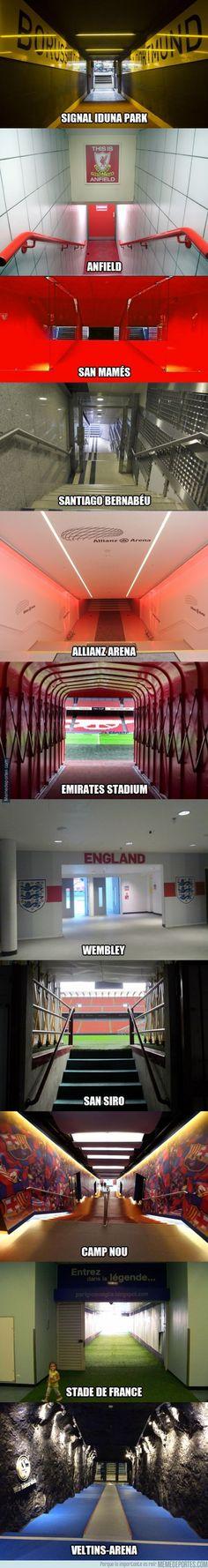 Espectaculares túneles de vestuarios de grandes estadios de Europa.