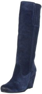 Blue suede knee high wedge boots