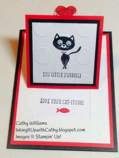 Inking It Up With Cathy Opened Pull Tab Card using You Little Furball stamp set.