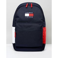 Tommy Jeans Backpack ($135) ❤ liked on Polyvore featuring bags, backpacks, blue, rucksack bags, padded backpack, day pack backpack, padded bag and american bags