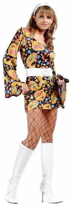 FOR MUM! (JUST WEAR TIGHTS OR LONGER SKIRT UNDER)........ Adult Disco Daisy Go Go Costume - 60's and 70's Costumes - Candy Apple Costumes