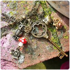 Mori Girl Collage Necklace to wear while you play in the forest or at a fairy tea party