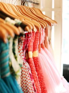 Colorful dresses.