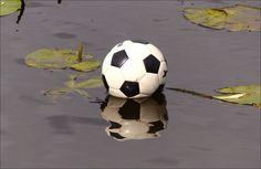 Een te water geraakte bal in de Schinkel in Amsterdam...