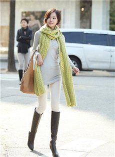 Popular Pure Color Street Long  Korean Cut-Outs Sweater Scarf