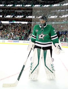 DALLAS, TX - DECEMBER Ben Bishop of the Dallas Stars during play against the Nashville Predators in the second period at American Airlines Center on December 2017 in Dallas, Texas. (Photo by Ronald Martinez/Getty Images) Hockey Teams, Hockey Players, Ice Hockey, American Airlines Center, Nhl Games, Field Hockey, National Hockey League, Dallas Texas, Predator
