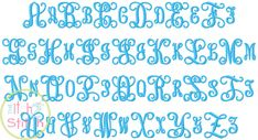 """I2S Intertwined Vine Interlocking Monogram Embroidery Font in sizes 1.5"""", 2.5"""" and 3.5"""" (larger sizes sold separately)  http://www.theitch2stitch.com/How-to-Use-the-BX-format-with-Embrilliance_b_6.html"""