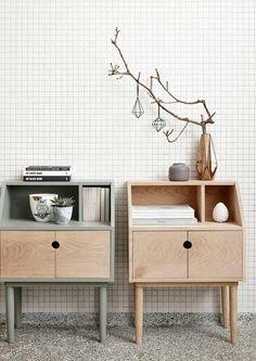 Hübsch dressoir met deurtje eikenhout/groen