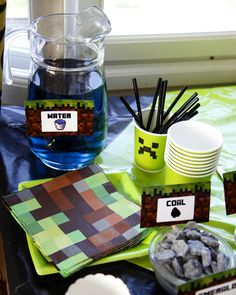 My son's minecraft partys, old boy :) Minecraft Cake, Seven Years Old, Son Love, Hammocks, Candy Buffet, Decorations, Mugs, Birthday, Face