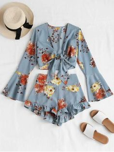 Bell Sleeve Floral Tie Front Matching Set - Baby Blue S Girls Fashion Clothes, Teen Fashion Outfits, Cute Fashion, Look Fashion, Outfits For Teens, Fashion Sets, Cute Girl Outfits, Cute Summer Outfits, Cute Casual Outfits