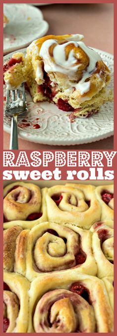 Raspberry Sweet Rolls Sweet yeast dough is filled with raspberry jam and fresh raspberries and then baked until golden perfection. Theyre topped with a tangy icing that takes them to a whole other level. Best Breakfast Recipes, Brunch Recipes, Dessert Recipes, Breakfast Ideas, Breakfast Bake, Breakfast Dishes, Easter Recipes, Easy Desserts, Delicious Desserts