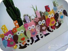 Prendedores decorados corujinhas by Artes by Dani, via Flickr