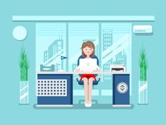 Secretary in office. Businesswoman person, worker woman, work and job, young female, flat vector illustrationVector files, fully editable.