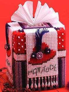 Plastic Canvas - Home Decor - Tissue Topper - Red Hat Tissue Box Cover - #FP00518