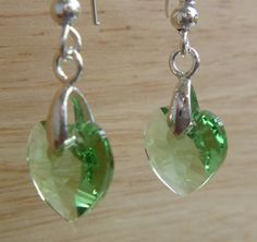peridot Swarovski heart sterling silver French hook earrings by GemsandCrystalsEtc, $32.00 30% off all orders $75+ (before discount) in August using code:  SALE30  & FREE shipping for all orders END OF SUMMER – SUPER SALE