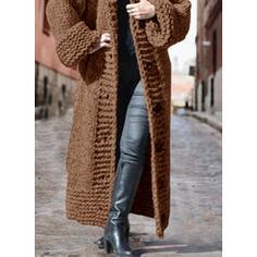 Solid Chunky knit Hooded Casual Long Cardigan (1002322445) - Sweaters - #322445 vencano Hooded Cardigan, Long Cardigan, Sweater Cardigan, Dress For Short Women, Leg Warmers, Pullover, Hoods, Knitting, Long Sleeve