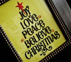 from thoughts in vinyl apply vinyl to glass of 8x10 frame and put decorative scrapbook paper behind the glass...or use wood  all for sale Christmas Word Tree {large}