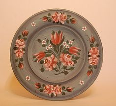Bauernmalerei plate with roses - Folk Art & Primitives