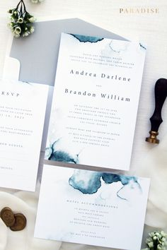 Zara 1 Wedding Invitation Sets, Printable Invitations or Printed Invitations, Watercolour Ocean Blue Invitations, Beach Wedding Invitation