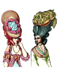 4. 1770 hedge hog fashion Hair expanded to extreme sizes. Women set enormous hat structures with great quanties of lace, feathers, jewels, ribbons, and flowers set flat on the head or at an angle