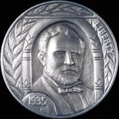 STEVE ADAMS HOBO NICKEL - ULYSSES S. GRANT - 1935 BUFFALO NICKEL Steve Adams, Hobo Nickel, Coin Collecting, Caricature, Coins, Carving, Artist, Buffalo, Presidents