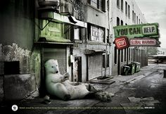 You can help. Stop global warming.  Animals around the world are losing their habitats due to climate change. By choosing a hybrid or fuel efficient car, you can help prevent this. Take action right now.  www.wwf.fi    Advertising Agency: EuroRSCG, Helsinki, Finland  Creative Director: Marcelo Coutinho  Art Director: Luiz Risi  Copywriter: Leena Yliportimo