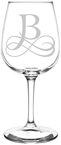 Monogrammed B | Vintage Double Infinity Symbol Wedding Monogram Inspired - Laser Engraved Libbey Wine Glass.  Full Personalization available!  Fast Free Shipping & 100% Satisfaction Guaranteed.  The Perfect Gift!