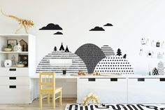 "Gefällt 31 Mal, 1 Kommentare - Minideco (@minideco.co.uk) auf Instagram: ""Let's create beautiful scenery behind your little one's desk by adding these beautiful monochrome…"""