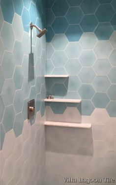 our mixed aqua hex cement tile is making waves in this relaxing shower hexagon hexagonal tiles uk Aqua Bathroom, Coastal Bathrooms, Small Bathroom, Bathroom Showers, Bath Tiles, Room Tiles, Shower Tiles, Bad Inspiration, Bathroom Inspiration
