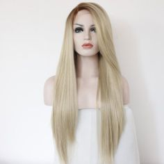 22 Inches Dark Gold Long Straight Lady Fashion Daily Heat Resistant Lace Front…