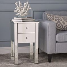 Amara 2 Drawer Side Table Mirror Finished - Christopher Knight Home, Silver