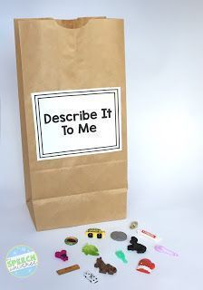 Looking for some fun ideas for your speech therapy session that will target describing, sorting, and categorization? Check out these paper bag activities using small objects to engage your students in fun language activities. Communication Activities, Speech Therapy Activities, Communication And Language Eyfs, Listening Activities, Communication Skills, Speech Language Pathology, Speech And Language, Receptive Language, Speech Room