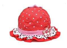 This sun hat is so cute. I love the red and white poka dot look with hearts. The pink just breaks up the hat with adorable black and white ruffles. A hat that baby will love getting at a baby shower.  http://amzn.to/1Crdc1M