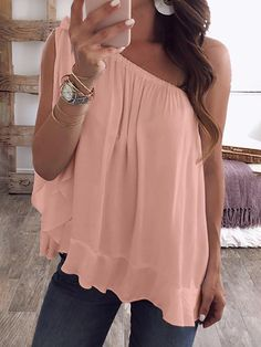 Shop Blouses & Shirts One Shoulder Tied Ruffles Hem Loose Blouse Trend Fashion, Fashion Outfits, Womens Fashion, Fall Fashion, Outfits 2016, Classy Fashion, Party Outfits, Fashion Edgy, Fashion Vintage