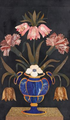 AN ITALIAN BAROQUE PIETRA DURA PANEL ATTRIBUTED TO THE OPIFICIO DELLE PIETRE DURE FLORENCE, 17TH CENTURY in a later parcel-gilt ebonized frame height 11 in.; width 6 3/4 in. 28 cm; 17.5 cm