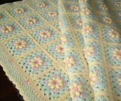 crochet flower baby blanket | Vintage Wool Baby Blanket Crochet Blanket by pixiedustlinens