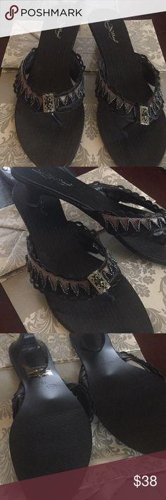 Joseph Maya Black Sandals Joseph Maya Black Sandals Heels Beaded Good Condition Size 10 Joseph Maya Shoes Sandals