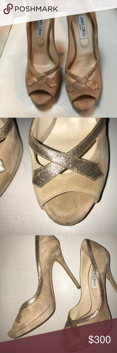 Jimmy Choo suede sparkle heel Jimmy Choo suede sparkle heel. Worn only once. Only show is on bottom.Size 39. Jimmy Choo Shoes Heels