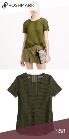 Stunning Olive J.Crew Top This top is completely stunning. It's in mint condition and is labeled a 10 but can fit 6-10. Any questions or offers are welcome! xoxo Asch (Price firm during all sales) *Price reflects the quality, rarity and condition.* J. Crew Tops