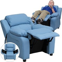 Flash Furniture BT-7985-KID-LTBLUE-GG Deluxe Heavily Padded Contemporary Light Blue Vinyl Kids Recliner with Storage... - List price: $160.00 Price: $102.58 Saving: $57.42 (36%) + Free Shipping