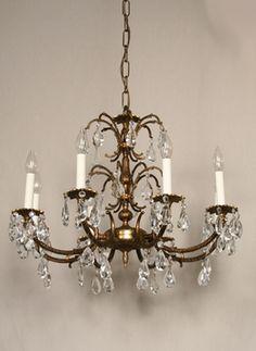 Vintage Five Arm Crystal Chandelier C 1940 Www Myrlg Lighting Chandeliers Pinterest And Lights
