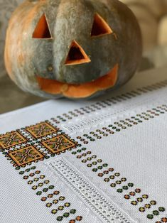 Tablecloths, Pumpkin Carving, Linen Fabric, Machine Embroidery, Unique, Pattern, Handmade, Color, Etsy